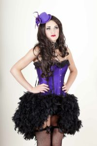 Purple Satin Feather Bustle Dress (Lydia) * Feather Burlesque Dress * Feather Saloon Girl Fancy Dress * Feather corset Dress